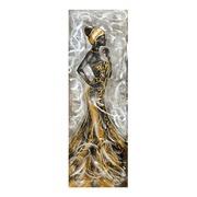 Cuadro Africana I al Oleo Lienzo y Aluminio 50 x 150 cm
