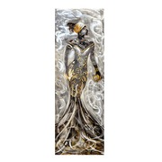 Cuadro Africana II al Oleo Lienzo y Aluminio 50 x 150 cm