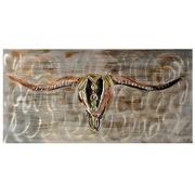 Cuadro Toro al Oleo en Lienzo y Aluminio 140 x 70 cm