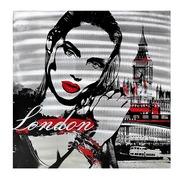 Cuadro Mujer en Londres al Oleo Lienzo y Aluminio 80 x 80 cm