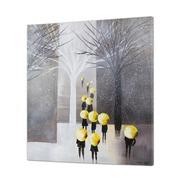 Cuadro Personas con Paraguas al Oleo 5 x 80 x 80 cm