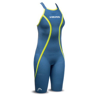 Bañador Mujer HEAD LiquidFire Core Knee Suit Open Back FINA