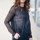 Camiseta blusa Transparente a capas Negras