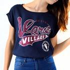 Camiseta estilo Beisbol azul y granate