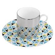 Taza con Plato en Porcelana Magic Azul Amarillo