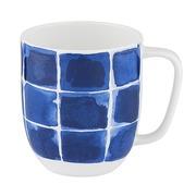Jarra Mug Indi Cuadros Azules en Porcelana 8 x 9 x 12 cm