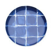 Plato Aperitivos Indi Cuadros Azules en Porcelana 16 x 2 cm