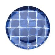 Plato Indi Cuadros Azules en Porcelana 21 x 2 cm