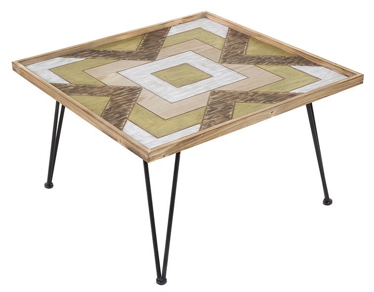 Mesa de centro industrial cuadrada patas de forja 80 x 80 x 47 cm - Patas de forja para mesas ...