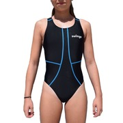 Bañador Entrenamiento Junior SwimGo GIRLS TEAM BASIC Black Blue Seams