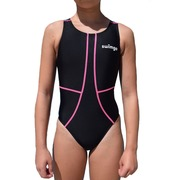 Bañador Entrenamiento Junior SwimGo GIRLS TEAM BASIC Black Pink Seams