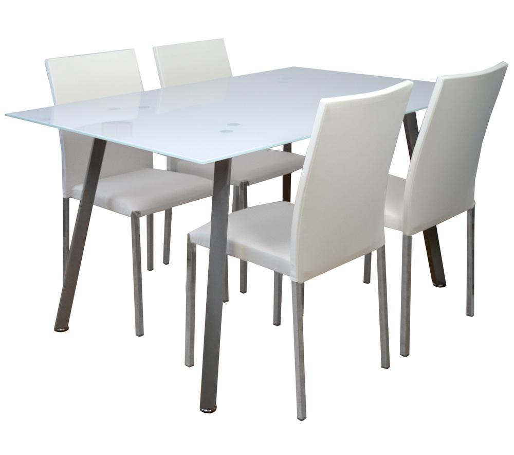 Conjunto Mesa con 4 Sillas Tapizadas en Poliuretano Blanco