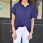 Blusa manga corta Camisera Azul Lunares Blancos