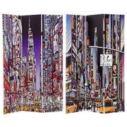 Biombo New York 3 Hojas de Lienzo y Madera 2,5 x 120,6 x 180 cm