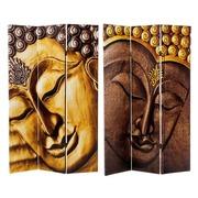 Biombo Buda 3 Hojas de Lienzo y Madera 2,5 x 120,6 x 180 cm