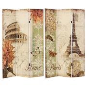Biombo Roma París 3 Hojas de Lienzo y Madera 2,5 x 120,6 x 180 cm