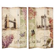 Biombo London New York 3 Hojas de Lienzo 2,5 x 120,6 x 180 cm