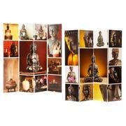 Biombo Buda 4 Hojas de Lienzo y Madera 2,5 x 161 x 180 cm