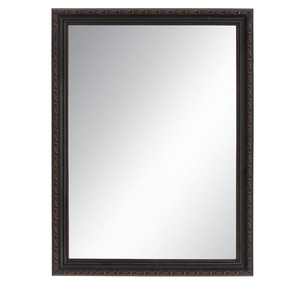 Espejo de pared marco en madera negro 2 5 x 59 x 79 cm for Espejo marco negro
