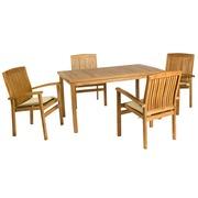 Set Mesa y 4 Sillones en Madera Teka 90 x 150 x 75 cm