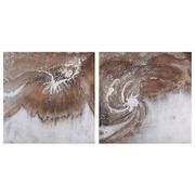 Pintura Abstracta en Lienzo Marrón Blanco 3 x 80 x 80 cm