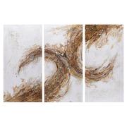 Pintura Abstracta en Lienzo Blanco Marrón 3 x 60 x 120 cm