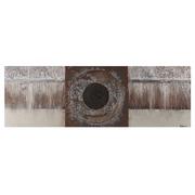 Pintura Abstracta en Lienzo Marrón Crema 3 x 150 x 50 cm