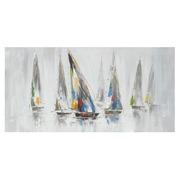 Pintura de Veleros Multicolor en Lienzo 3,8 x 140 x 70 cm
