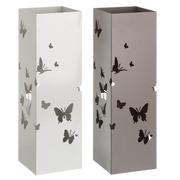 Paraguero Mariposas en Metal Blanco Beige 15,5 x 15,5 x 49 cm