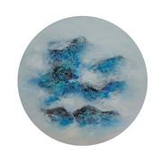 Cuadro Abstracto Azul Redondo al Oleo 4 x 60 x 60 cm