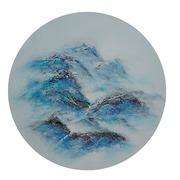 Cuadro Abstracto Azul Pintado al Oleo 4 x 60 x 60 cm