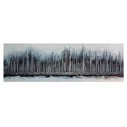 Cuadro Abstracto Plata Pintado al Oleo 4 x 150 x 50 cm