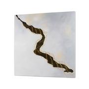 Cuadro Abstracto al Oleo Negro Dorado 4 x 100 x 100 cm