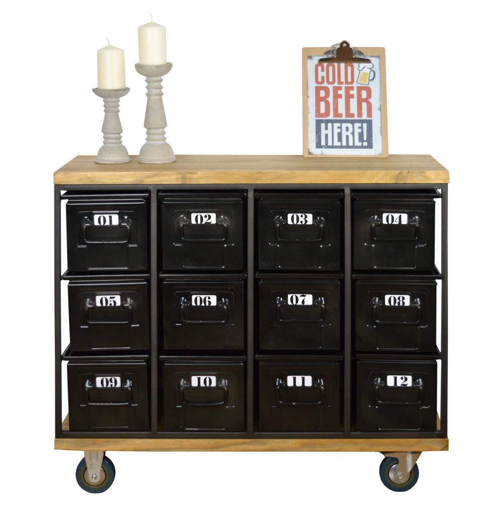 commode style industriel avec 12 tiroirs bristol. Black Bedroom Furniture Sets. Home Design Ideas