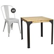 Conjunto Mesa de Bar Bristol y 4 sillas Tudix Color Blancas