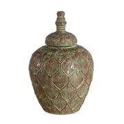 Tibor Cerámica Verde Marrón 25,5 x 25,5 x 38,2 cm