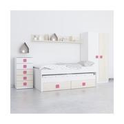 Ambiente Dormitorio Juvenil Cama Nido Acacia Blanco Rosa