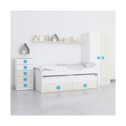 Ambiente Dormitorio Juvenil Cama Nido Acacia Blanco Azul