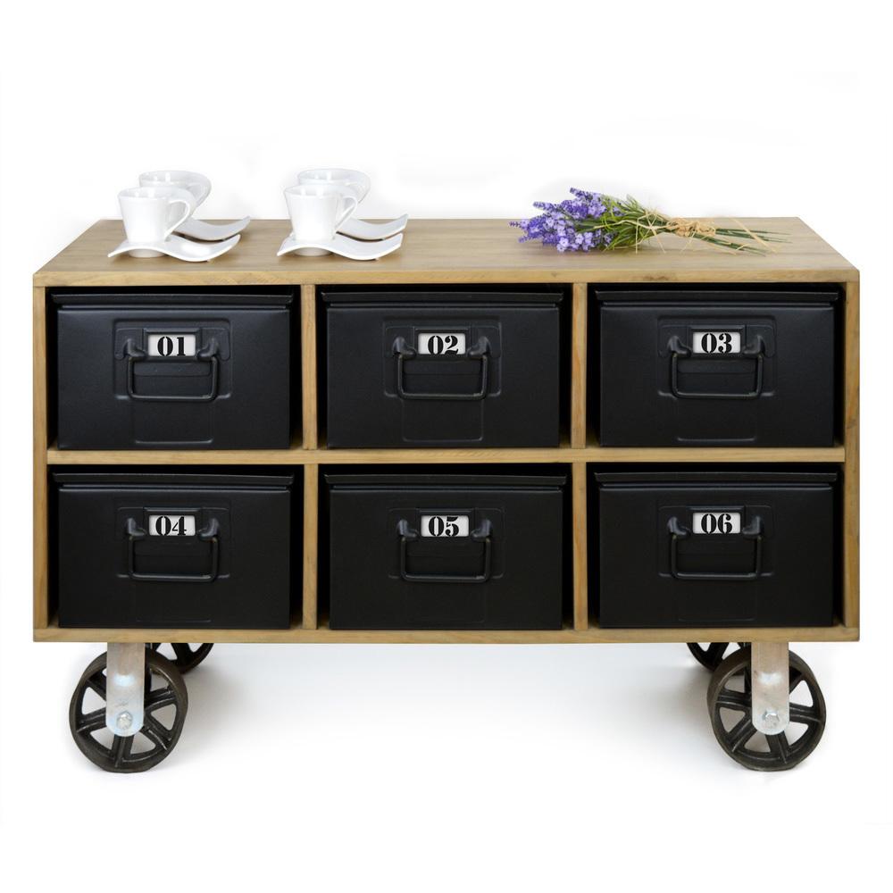 Mueble norwich estilo industrial con 6 cajones met licos for Mesas industriales vintage