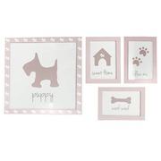Set 4 Cuadros Puppy Rosa Ref.FR001-DOG