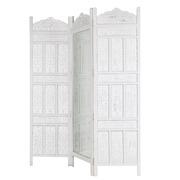 Biombo de Madera Blanco Rozado con Espejo 2 x 153 x 183 cm
