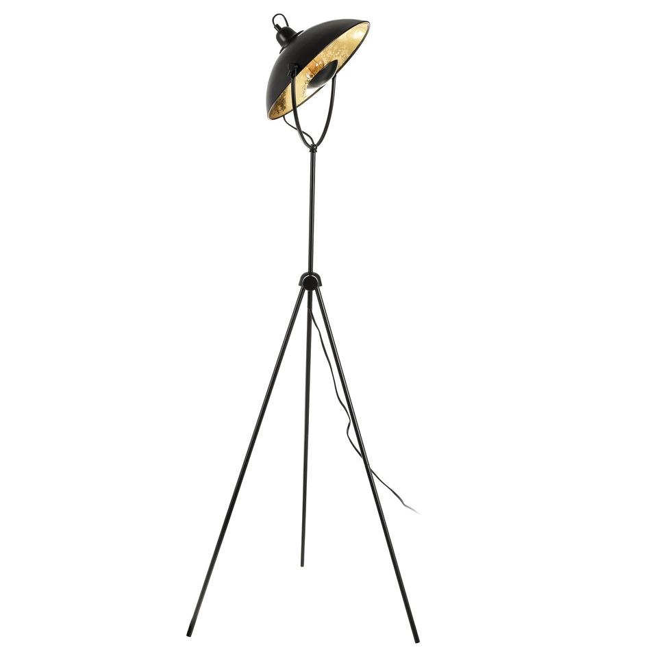 Lámpara de Suelo Industrial en Hierro Negro Oro 58,5 x 58,5 x 140 cm