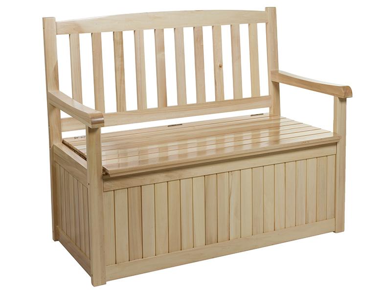 Banco exterior con almacenaje de madera - Banco madera exterior ...