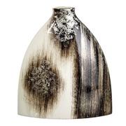 Jarrón Decorativo en Cerámica Marrón Blanco 11 x 31 x 36 cm