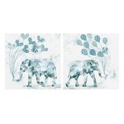 Cuadro Elefantes en Lienzo Color Azul 2,8 x 60 x 60 cm