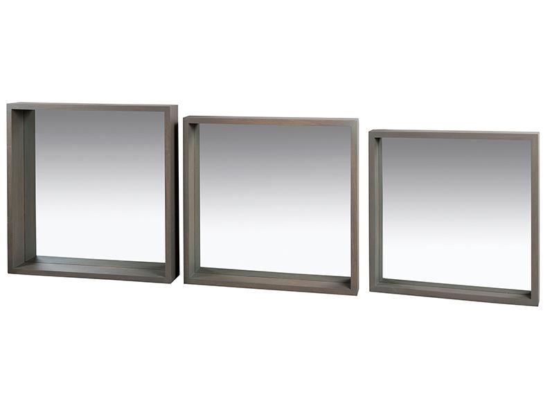 Juego 3 Espejos Cuadrados de Madera 9 x 60 x 60 cm
