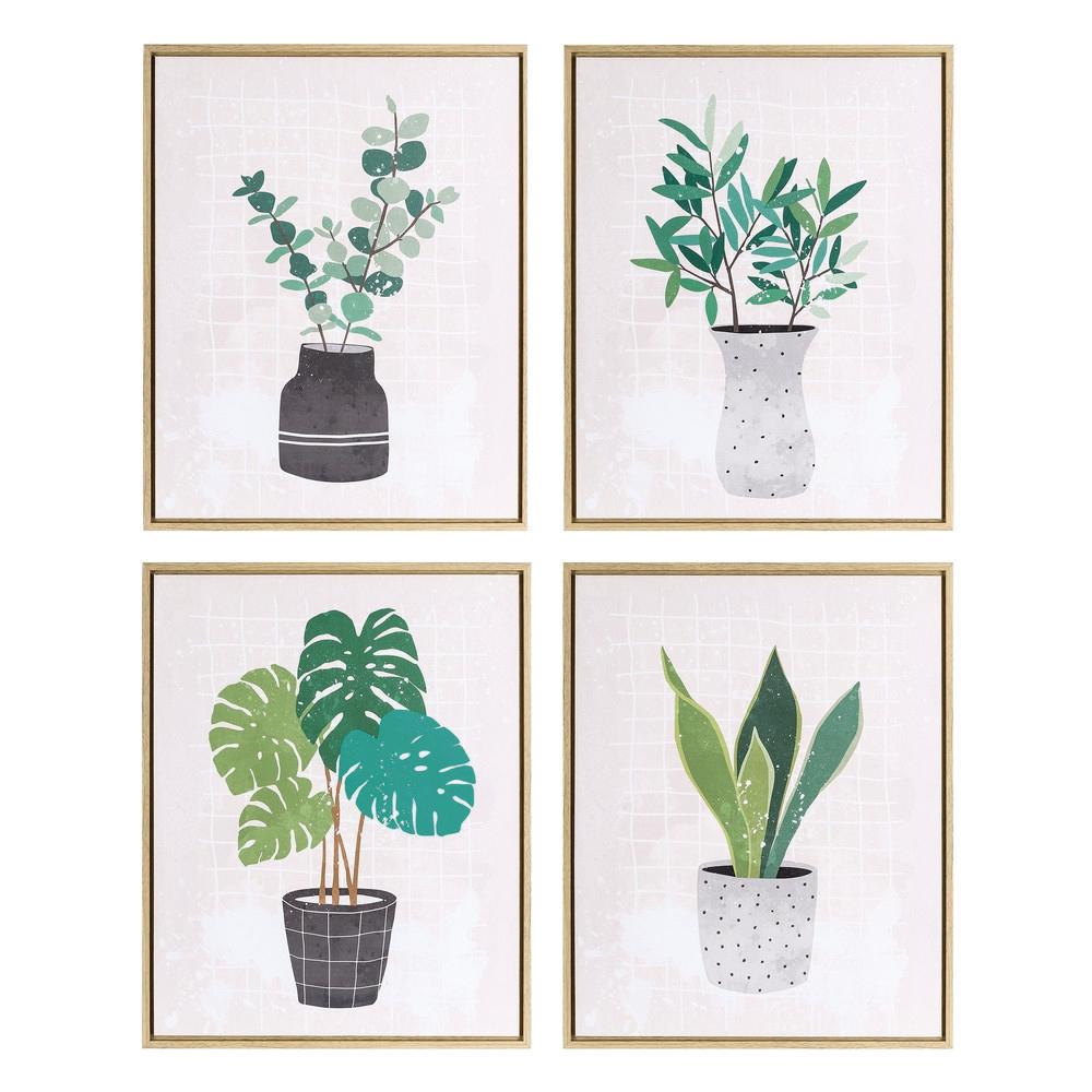 Cuadro Impresión Plantas en Lienzo con Marco 2,5 x 40 x 50 cm