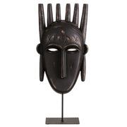 Figura Decorativa de Máscara Etnica Poliresina 10 x 22 x 48,5 cm