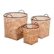 Set 3 Cestos en Bambú Natural 42 x 42 x 41 cm