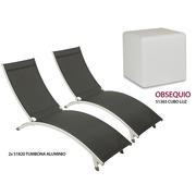 Set 2 Tumbonas de Aluminio y Cubo de Luz Ref.80739